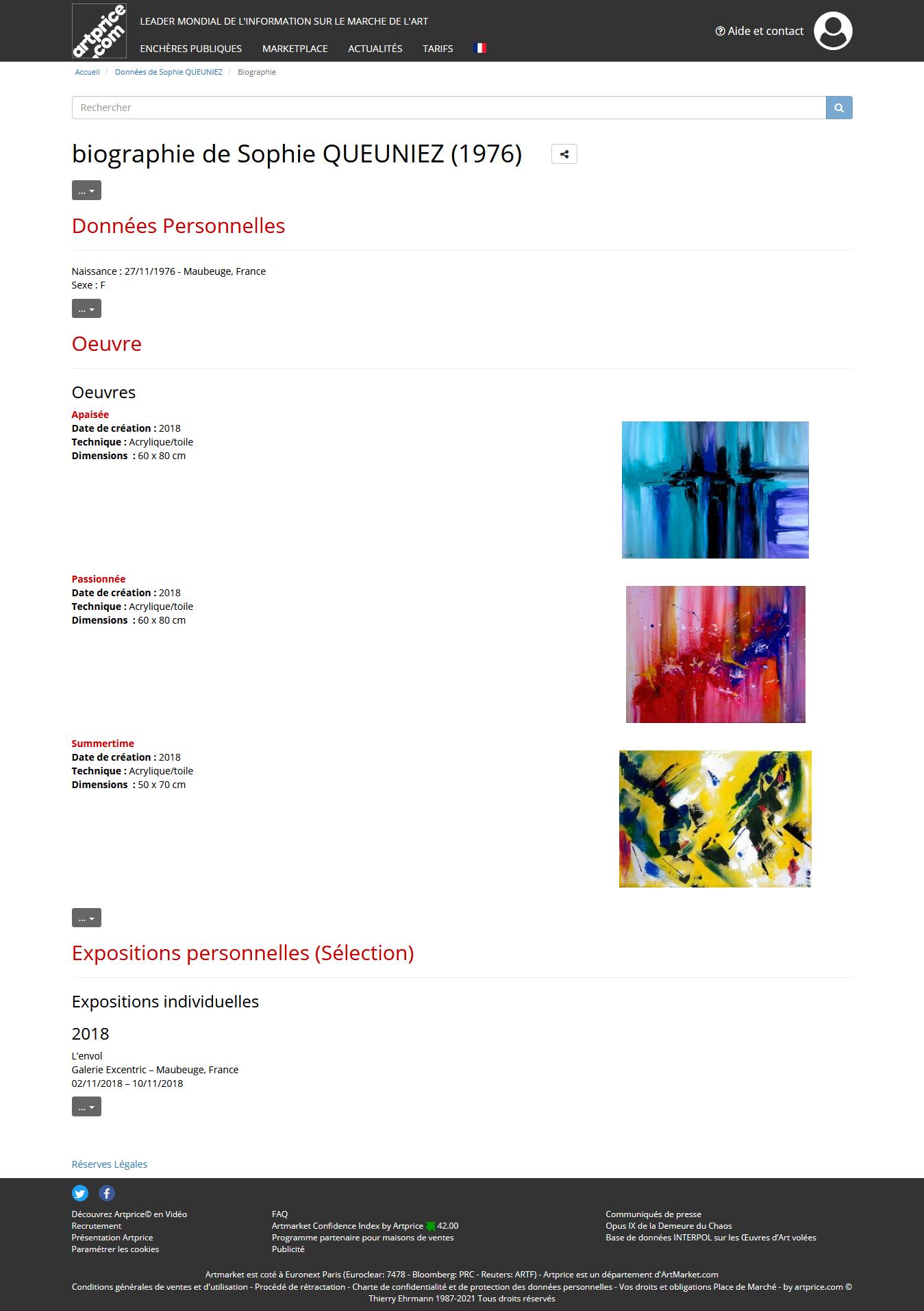 Screenshot 2021 03 13 biographie de sophie queuniez informations et ventes aux encheres des oeuvres de l artiste sophie que