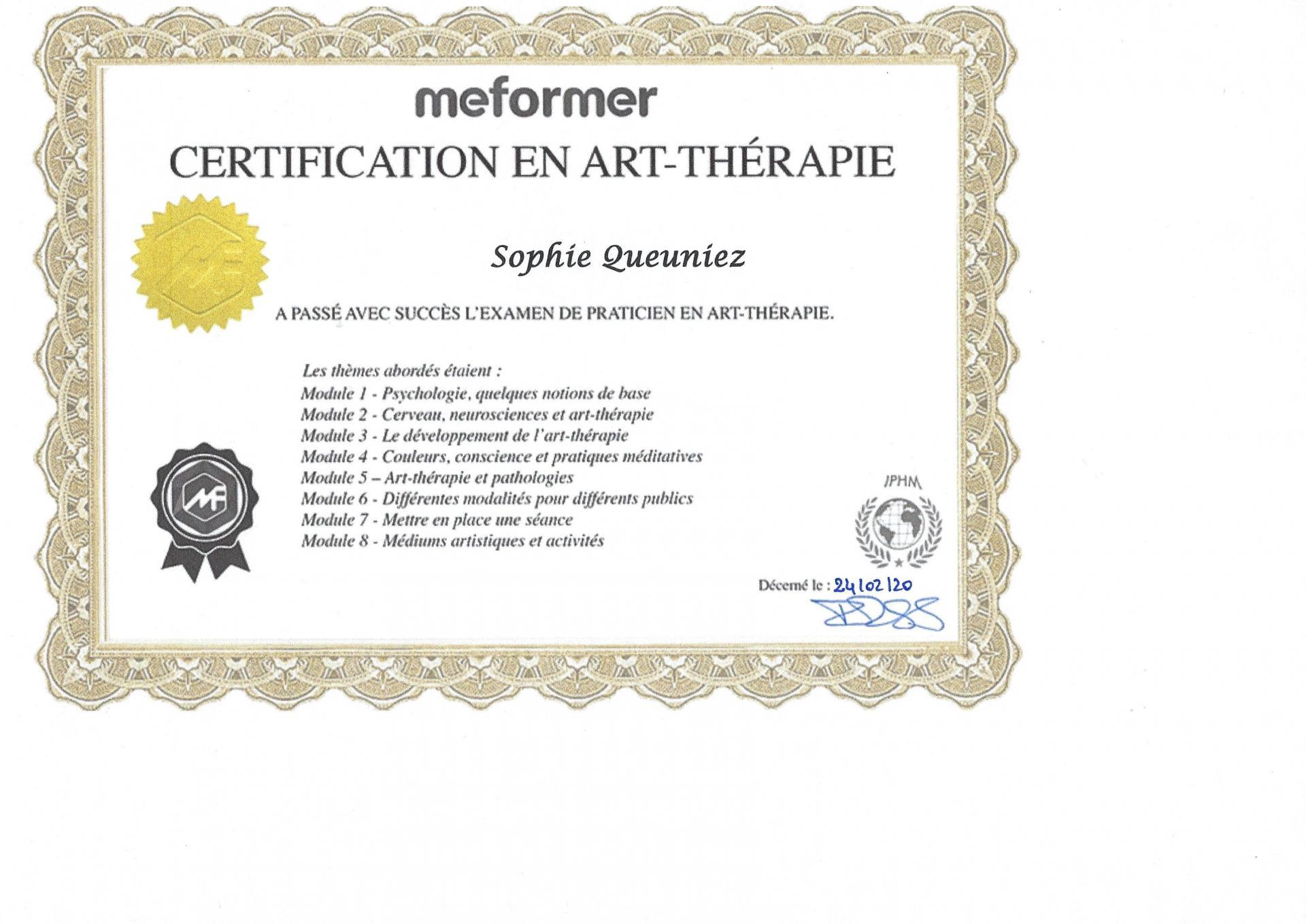 Certification art therapie